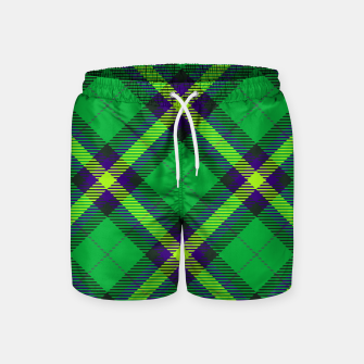 Thumbnail image of Modern Design Classic Plaid Fabric Green Swim Shorts, Live Heroes