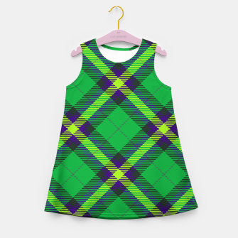 Thumbnail image of Modern Design Classic Plaid Fabric Green Girl's summer dress, Live Heroes