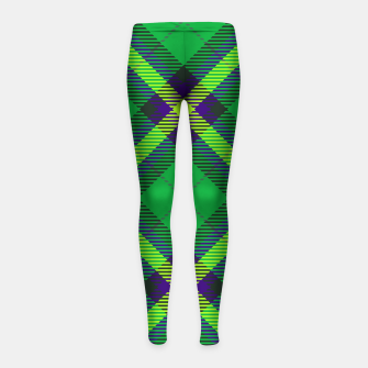 Thumbnail image of Modern Design Classic Plaid Fabric Green Girl's leggings, Live Heroes