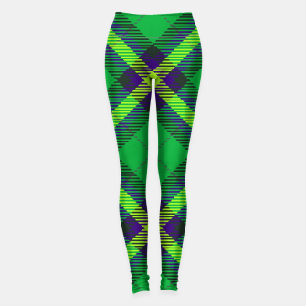 Thumbnail image of Modern Design Classic Plaid Fabric Green Leggings, Live Heroes