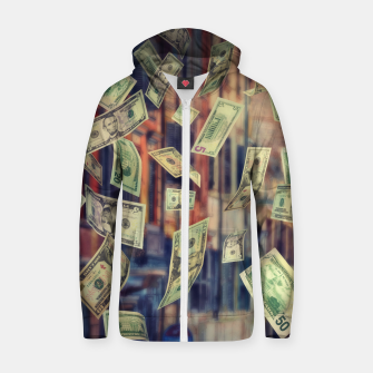 Miniatur Faling Money Cotton zip up hoodie, Live Heroes