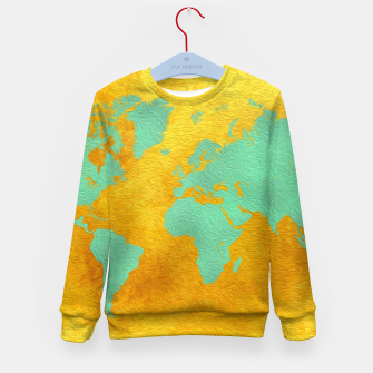 Thumbnail image of world map gold green  Bluza dziecięca, Live Heroes