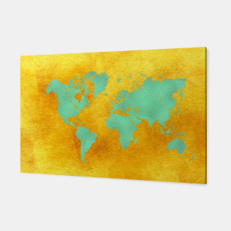 Miniaturka world map gold green  Canvas, Live Heroes