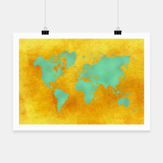 Miniaturka world map gold green  Plakat, Live Heroes