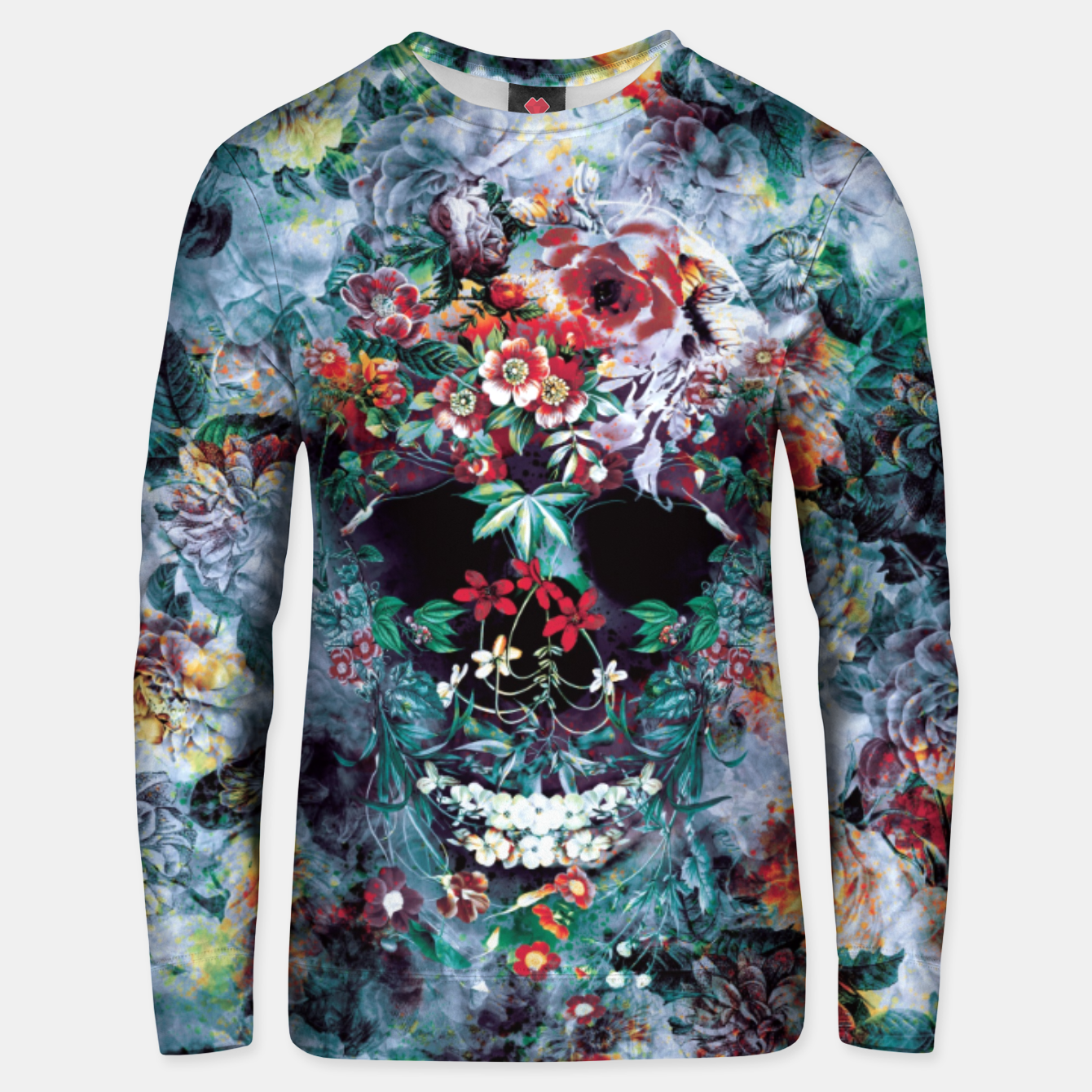Foto Skull Flower Cotton sweater - Live Heroes