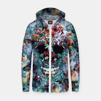 Thumbnail image of Skull Flower Cotton zip up hoodie, Live Heroes