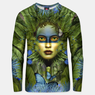 "Miniaturka ""Tropical green and indigo jungle Woman"" Sudadera de algodón, Live Heroes"