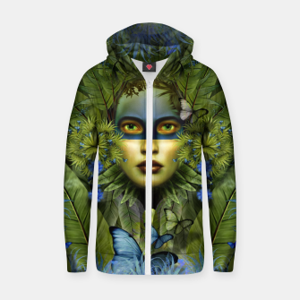 "Miniaturka ""Tropical green and indigo jungle Woman"" Sudadera con capucha y cremallera de algodón , Live Heroes"