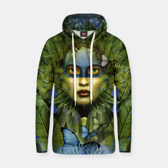 "Miniaturka ""Tropical green and indigo jungle Woman"" Sudadera con capucha de algodón, Live Heroes"