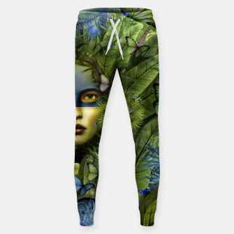 "Imagen en miniatura de ""Tropical green and indigo jungle Woman"" Pantalones de chándal de algodón, Live Heroes"