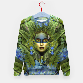 "Imagen en miniatura de ""Tropical green and indigo jungle Woman"" Sudadera para niños, Live Heroes"
