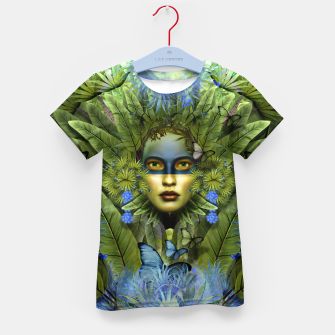 "Imagen en miniatura de ""Tropical green and indigo jungle Woman"" Camiseta para niños, Live Heroes"