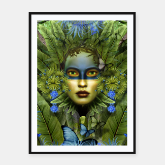 "Miniaturka ""Tropical green and indigo jungle Woman"" Cartel con marco, Live Heroes"