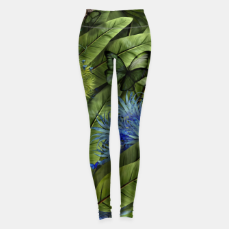 "Imagen en miniatura de ""Tropical green and indigo jungle Woman"" Leggings, Live Heroes"