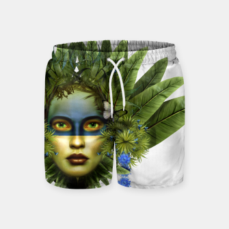 "Miniaturka ""Tropical green and indigo jungle Woman II"" Pantalones de baño, Live Heroes"