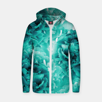 Thumbnail image of Turquoise Peonies Dream #1 #floral #decor #art Baumwoll reißverschluss kapuzenpullover, Live Heroes