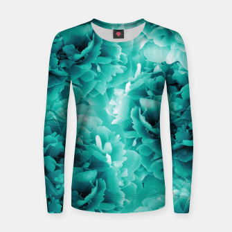 Turquoise Peonies Dream #1 #floral #decor #art Frauen baumwoll sweatshirt thumbnail image