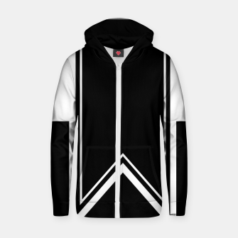 Thumbnail image of Black and White Minimalistic Design Cotton zip up hoodie, Live Heroes
