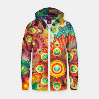 Cracy Mandala Rainbow Design Cotton zip up hoodie thumbnail image