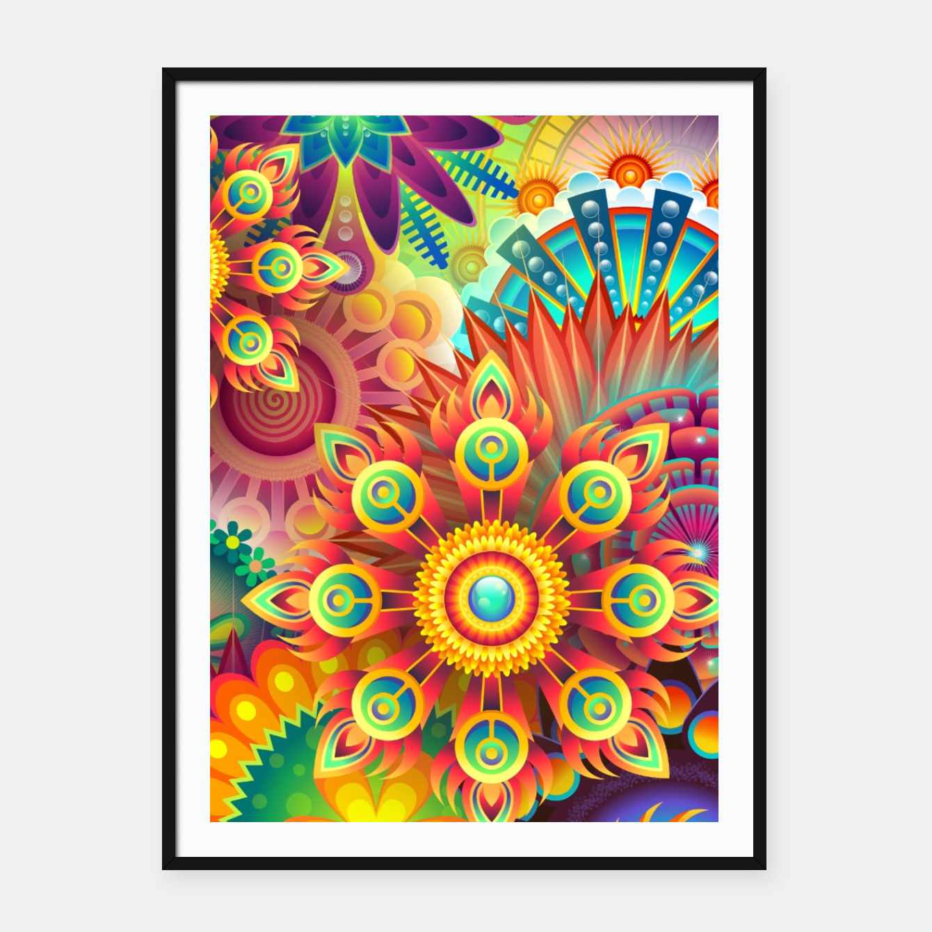 Image of Cracy Mandala Rainbow Design Framed poster - Live Heroes