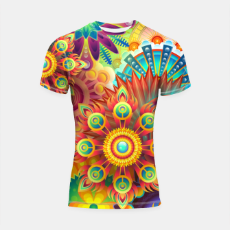 Thumbnail image of Cracy Mandala Rainbow Design Shortsleeve rashguard, Live Heroes