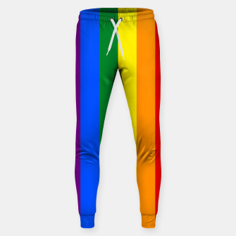 Thumbnail image of Large Vertical Gay Pride Rainbow Beach Stripes Cotton sweatpants, Live Heroes
