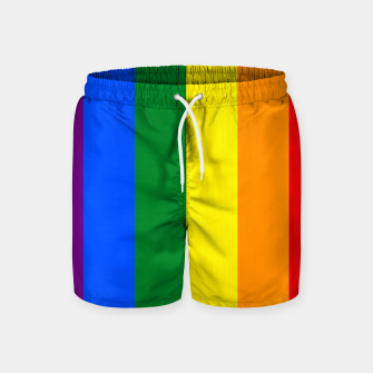 Thumbnail image of Large Vertical Gay Pride Rainbow Beach Stripes Swim Shorts, Live Heroes