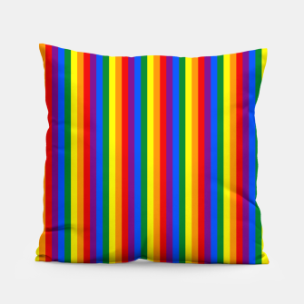 Thumbnail image of Mini Vertical Gay Pride Rainbow Beach Stripes Pillow, Live Heroes