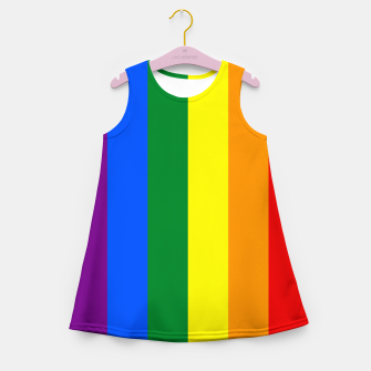 Thumbnail image of Large Vertical Gay Pride Rainbow Beach Stripes Girl's summer dress, Live Heroes