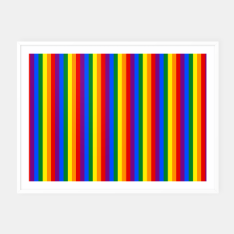Thumbnail image of Mini Vertical Gay Pride Rainbow Beach Stripes Framed poster, Live Heroes