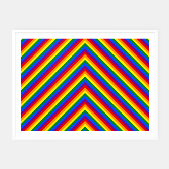 Miniatur Gay Pride Flag Rainbow Chevron Stripe Framed poster, Live Heroes
