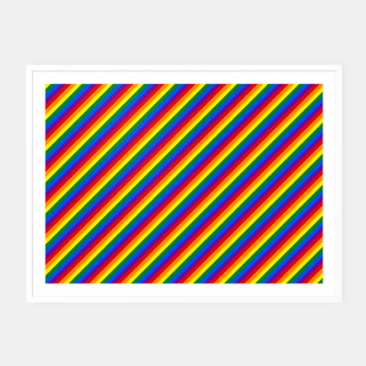 Miniatur Gay Pride Flag Candy Cane Diagonal Stripe Framed poster, Live Heroes