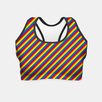 Miniatur Gay Pride Flag Candy Cane Diagonal Stripe Crop Top, Live Heroes