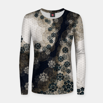 Thumbnail image of Japanese traditional family emblem art Cherry blossoms blue Woman cotton sweater, Live Heroes