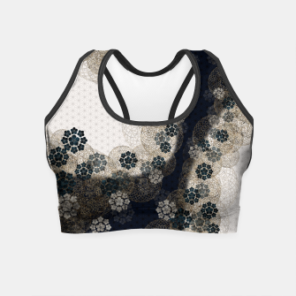 Thumbnail image of Japanese traditional family emblem art Cherry blossoms blue Crop Top, Live Heroes