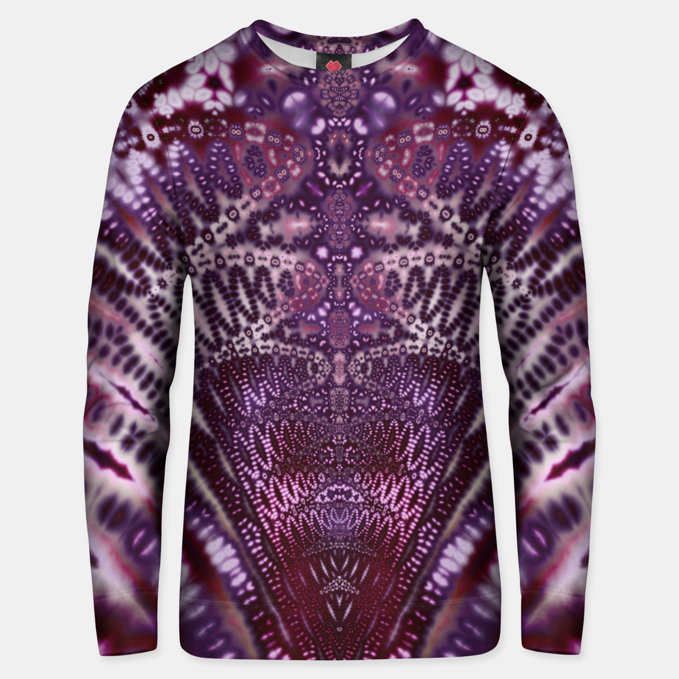 Foto Magenta and Maroon Fractal Wave Cotton sweater - Live Heroes