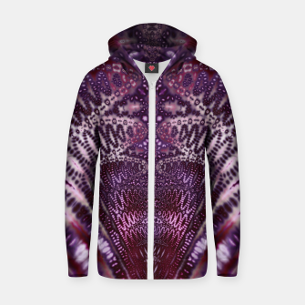 Magenta and Maroon Fractal Wave Cotton zip up hoodie Bild der Miniatur