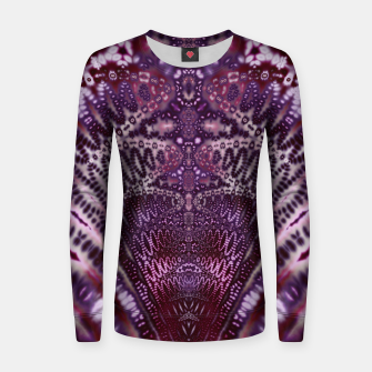 Magenta and Maroon Fractal Wave Woman cotton sweater Bild der Miniatur