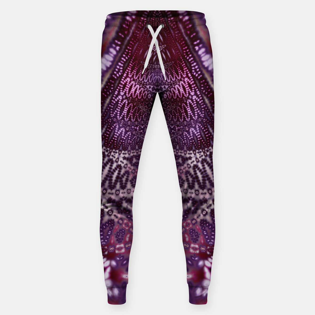 Foto Magenta and Maroon Fractal Wave Cotton sweatpants - Live Heroes