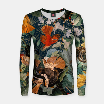 Miniatur Birds and snakes Woman cotton sweater, Live Heroes