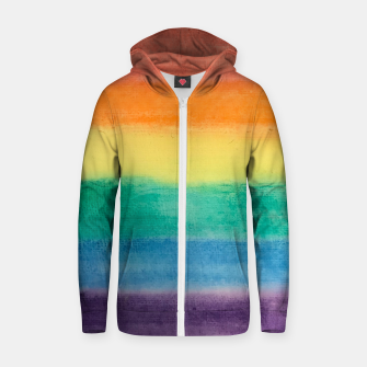 Miniatur Large Hand Painted Watercolor Gay Pride Rainbow Equality and Freedom Flag Cotton zip up hoodie, Live Heroes