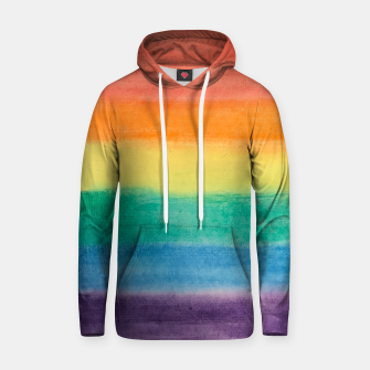 Miniatur Large Hand Painted Watercolor Gay Pride Rainbow Equality and Freedom Flag Cotton hoodie, Live Heroes