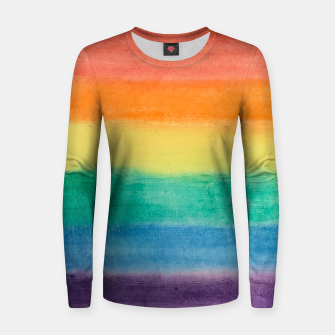 Miniatur Large Hand Painted Watercolor Gay Pride Rainbow Equality and Freedom Flag Woman cotton sweater, Live Heroes