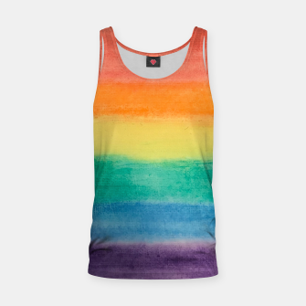 Miniatur Large Hand Painted Watercolor Gay Pride Rainbow Equality and Freedom Flag Tank Top, Live Heroes
