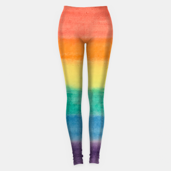 Miniatur Large Hand Painted Watercolor Gay Pride Rainbow Equality and Freedom Flag Leggings, Live Heroes