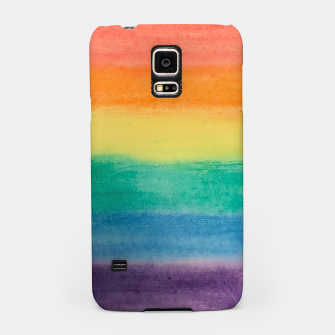 Miniatur Large Hand Painted Watercolor Gay Pride Rainbow Equality and Freedom Flag Samsung Case, Live Heroes