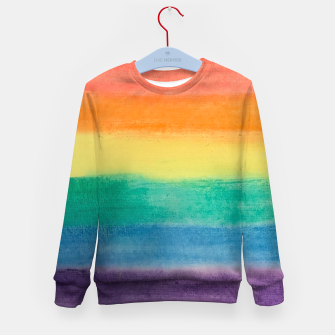 Miniatur Large Hand Painted Watercolor Gay Pride Rainbow Equality and Freedom Flag Kid's sweater, Live Heroes
