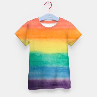 Miniatur Large Hand Painted Watercolor Gay Pride Rainbow Equality and Freedom Flag Kid's t-shirt, Live Heroes