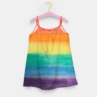 Miniatur Large Hand Painted Watercolor Gay Pride Rainbow Equality and Freedom Flag Girl's dress, Live Heroes