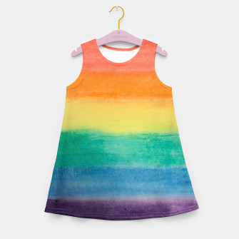 Miniatur Large Hand Painted Watercolor Gay Pride Rainbow Equality and Freedom Flag Girl's summer dress, Live Heroes